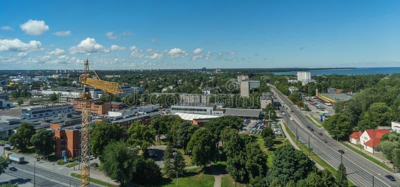 TALLINN, ESTONIA 21 07 Panorama scenico di estate 2017 della città T fotografia stock