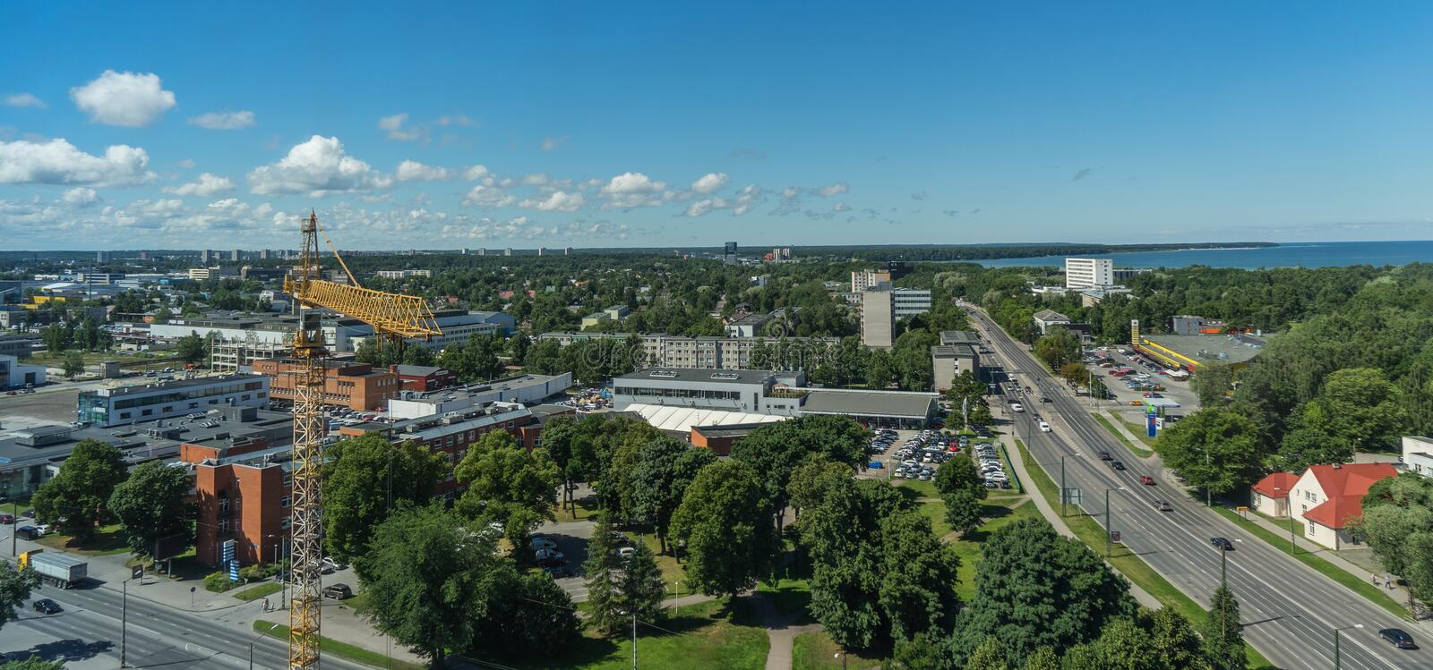 TALLINN, ESTONIA 21.07.2017 Scenic summer panorama of the city T stock photography