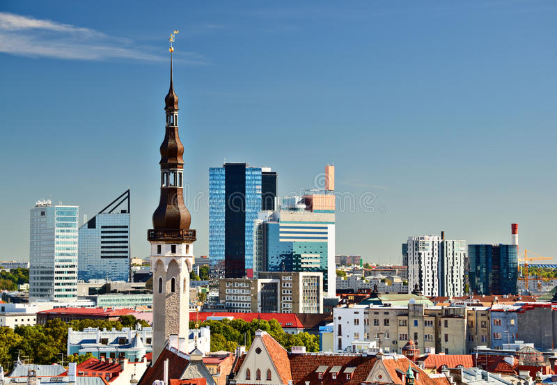 Tallinn Estonia Skyline stock photo
