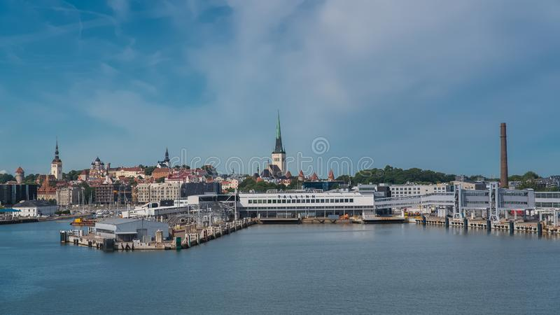 Tallinn in Estonia. Panorama of the town and the harbor, view from the sea stock photo