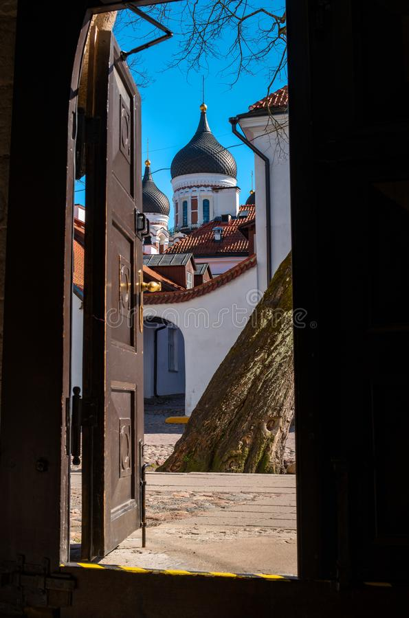 Tallinn, Estonia. View of the dome of the Cathedral of Alexander Nevsky from the entrance to the dome Cathedral. Both. Temples are located in the old town-the stock image