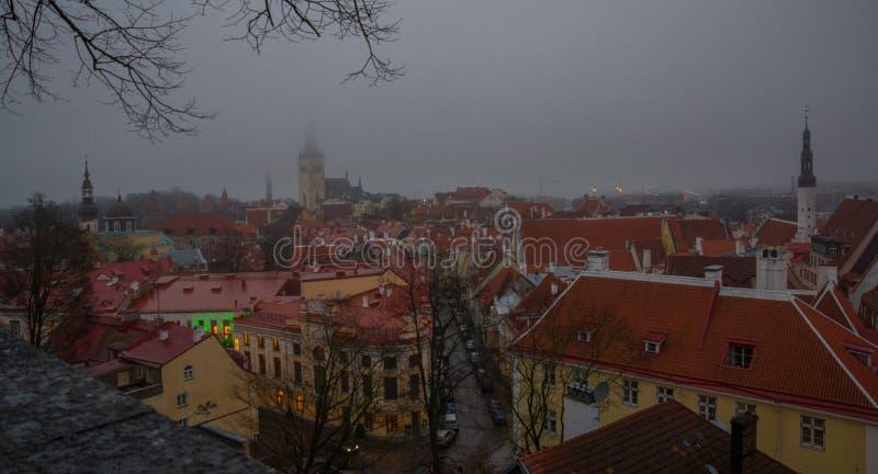 Tallinn, Estonie : Église de St Olaf Paysage urbain aérien avec la vieille ville médiévale, paysage avec un panorama de la ville  photographie stock libre de droits