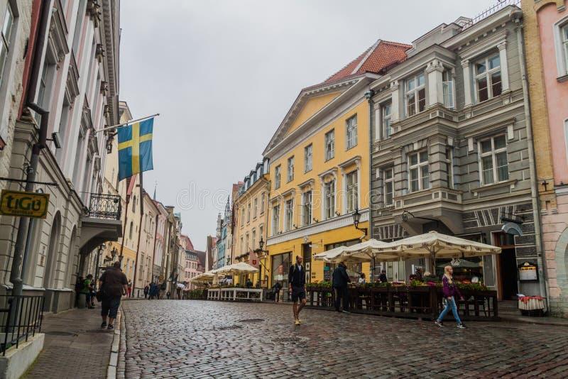 TALLINN, ESTONIE - 22 AOÛT 2016 : Les gens marchent le long de la rue pavée en cailloutis de Pikk dans la vieille ville de Tallin images stock