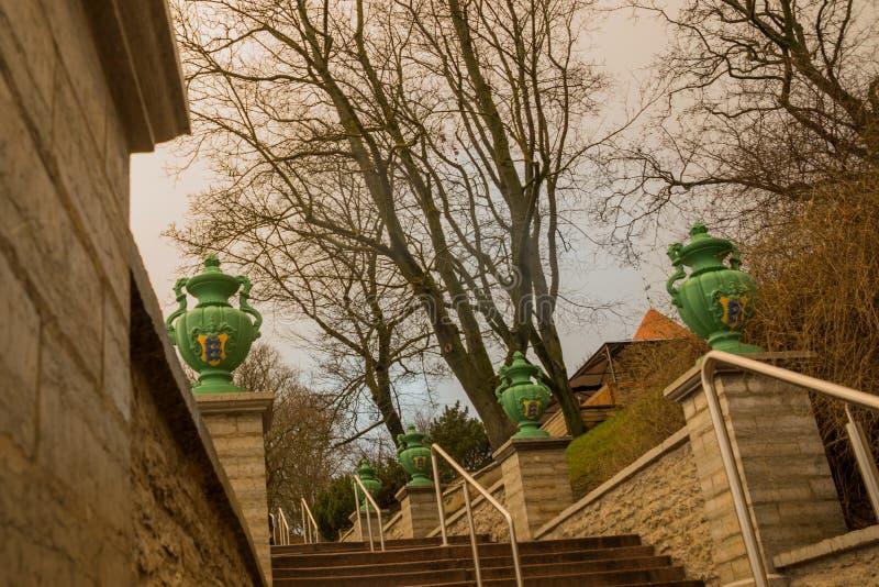 Tallinn, Estonie : L'escalier avec des étapes et des vases décoratifs verts mène à la place de liberté dans la vieille ville photo stock