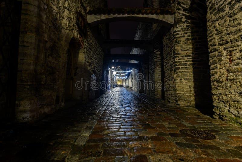 Tallinn gammal stad på natten arkivfoton