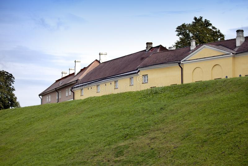 tallinn Huizen op Mary Hill Maarjamae in het district van Pirita, Tallinn royalty-vrije stock foto's
