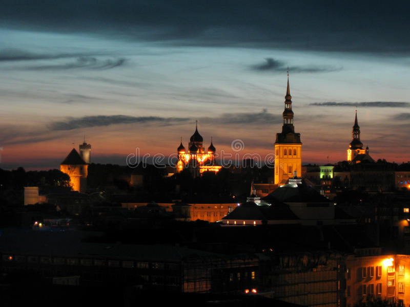 Download Tallinn by night stock image. Image of cloud, dusk, tower - 26451301
