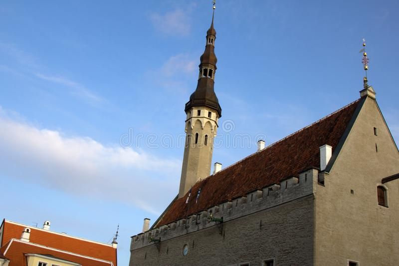 Tallinn - old town, medieval houses, churches. Tiled roofs, bell towers and so on royalty free stock photo