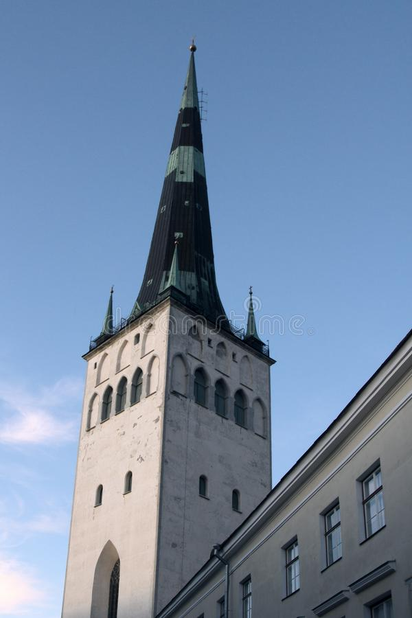 Tallinn - old town, medieval houses, churches. Tiled roofs, bell towers and so on royalty free stock image