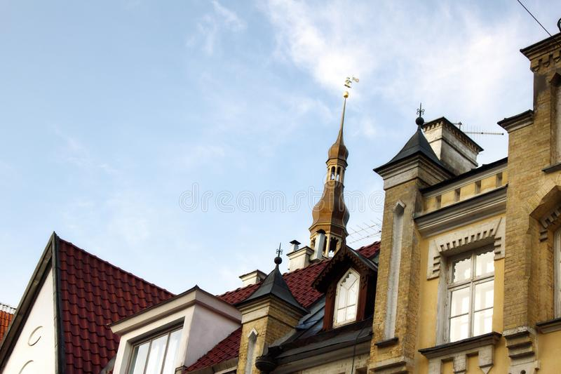 Tallinn - old town, medieval houses, churches. Tiled roofs, bell towers and so on stock images