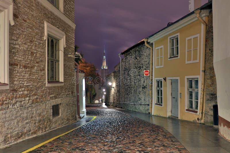 Tallinn old town street at night light, capital of Estonia royalty free stock photo