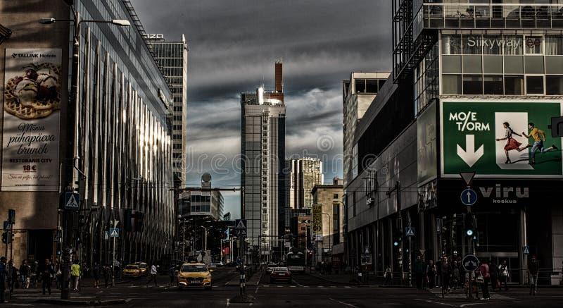Tallinn onderaan stad, commercieel centrum royalty-vrije stock foto's