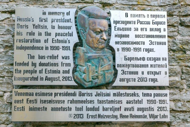 tallinn Placa conmemorativa a Boris Yeltsin fotografía de archivo