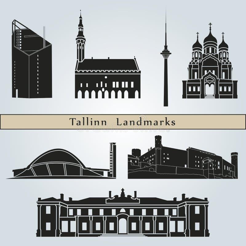 Tallinn punkty zwrotni ilustracja wektor