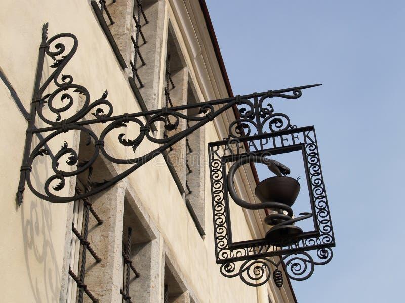 Tallinn. Shod sign on the Ratushny drugstore, 1422.  royalty free stock photos