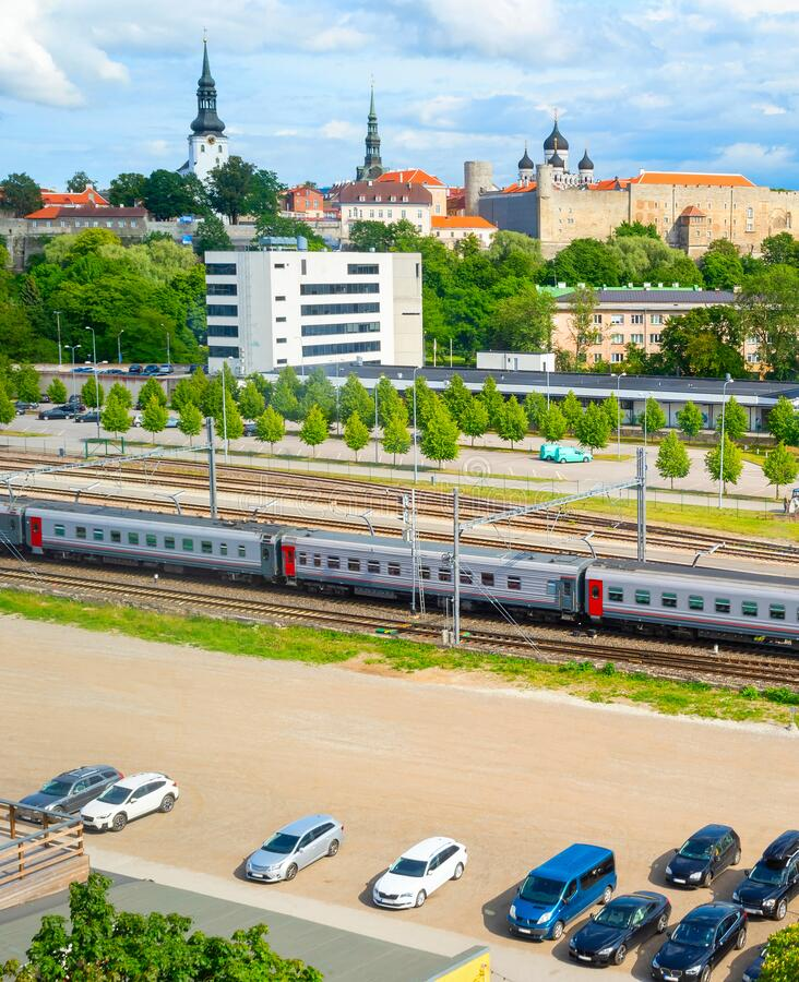 Tallinn uraban skyline, parking, railroad stock photo