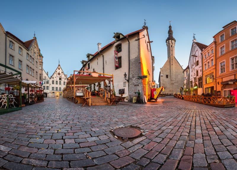 Tallinn urząd miasta i Olde Hansa restauracja w ranku obraz royalty free