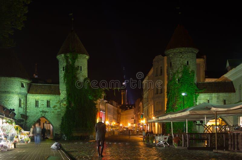 Tallinn vieja en la noche foto de archivo libre de regalías