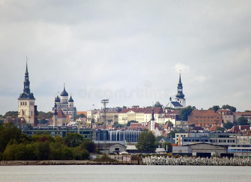 Tallinn. A view of the city and port from the sea stock photo