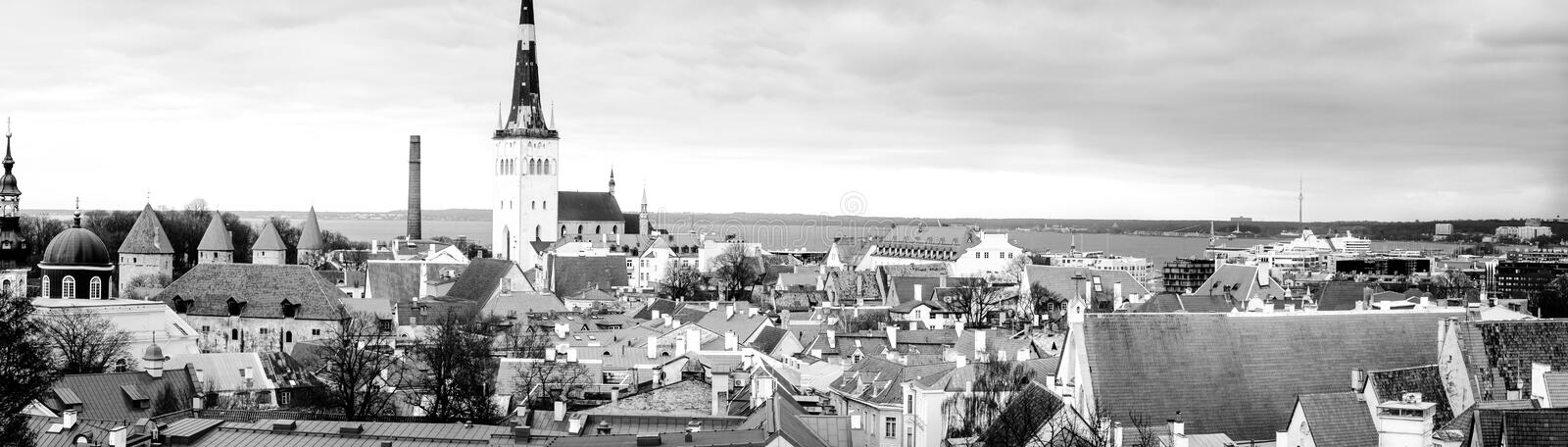 Tallinn in white and black. Unlike many other capital cities in Europe, Tallinn has managed to wholly preserve its structure of medieval and Hanseatic origin stock images