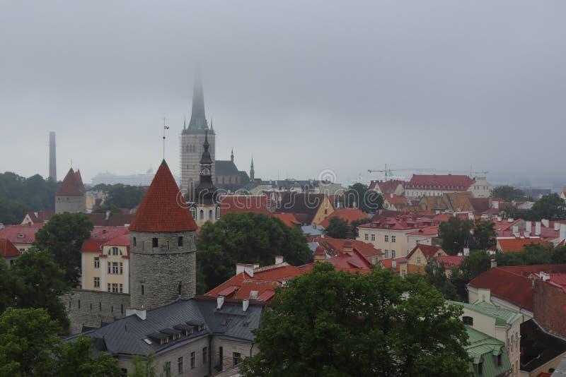 Tallinn zeer bewolkt in de zomer op vakantie royalty-vrije stock afbeeldingen
