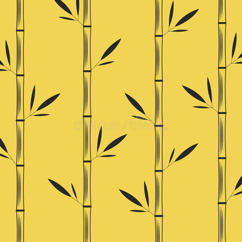 Tallos del bambú con el ejemplo oriental creativo del vector del negro del modelo de las hojas en un fondo amarillo libre illustration
