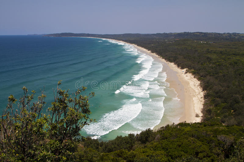 Tallow beach, Byron bay. View of the Tallow beach from the Cape Byron Bay Lighthouse royalty free stock photo
