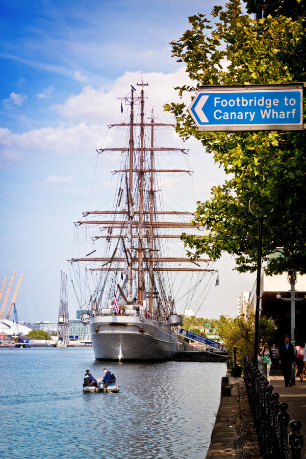 The tallship Eagle at West India Quay stock photography