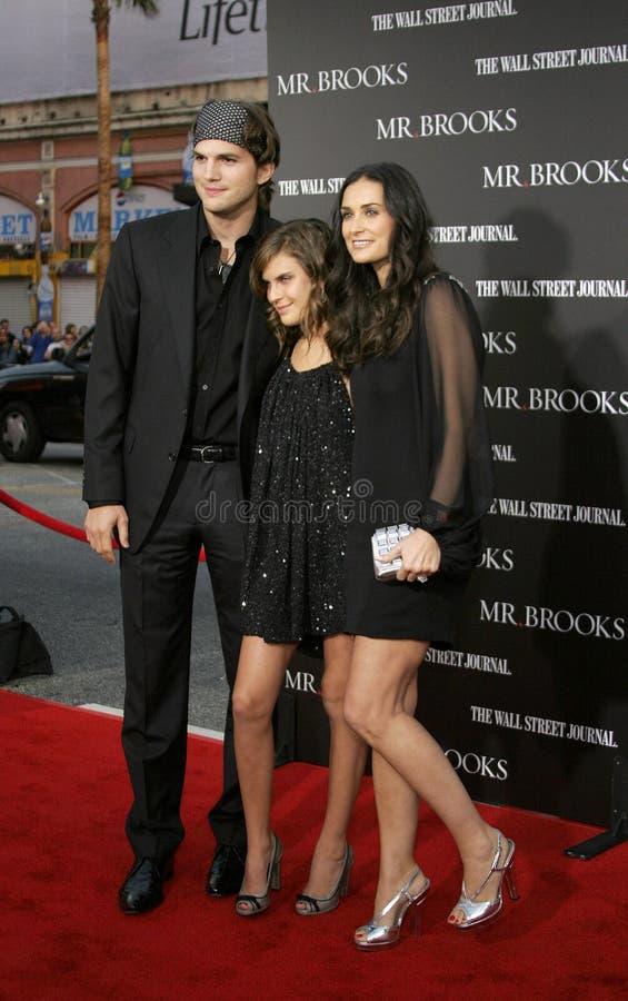 Tallulah Belle Willis, Ashton Kutcher et Demi Moore images stock