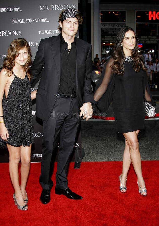 Tallulah Belle Willis, Ashton Kutcher och Demi Moore arkivfoto