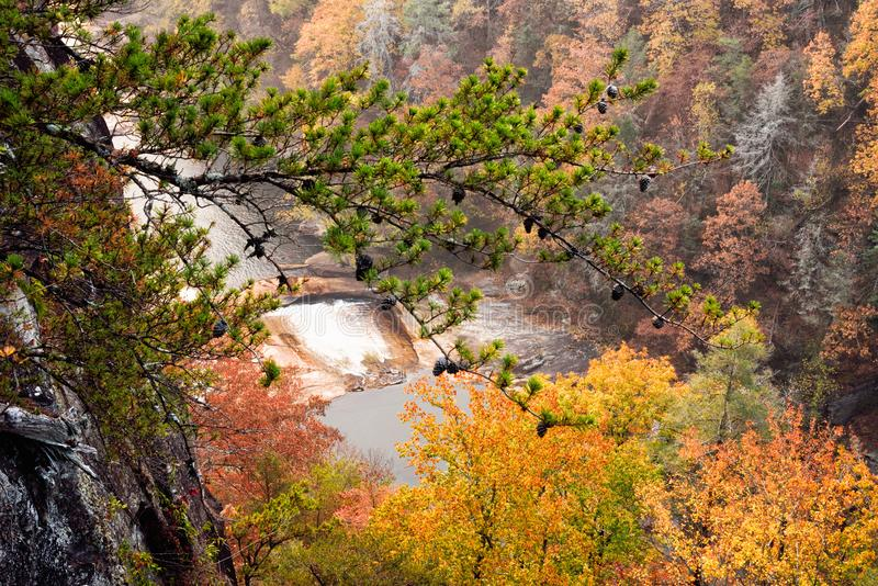 Tallulah River at Tallulah Falls Georgia USA Autumn Season. Tallulah River and waterfall at Tallulah Gorge State Park in Tallulah Falls Georgia USA during the royalty free stock photo