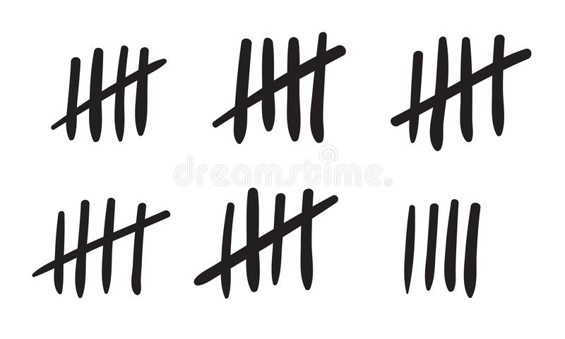 Tally marks count or prison wall sticks lines counter. Vector hash marks icons of jail or desert island lost day tally numbers cou. Nting in slash lines vector illustration