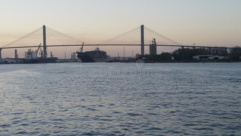 Talmadge Memorial Bridge & x28; Georgia& x29; fotografia stock libera da diritti