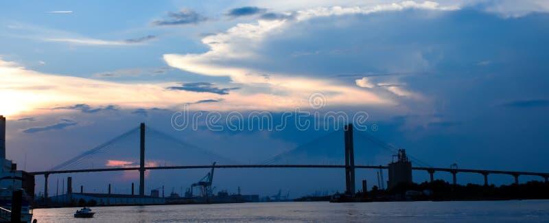 Talmadge Memorial Bridge, savana, GA fotografia stock libera da diritti