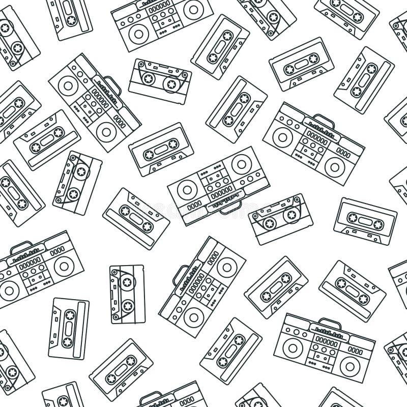 80-talnostalgistil Modell för retro mode för 80 ` s för tappning sömlös stock illustrationer