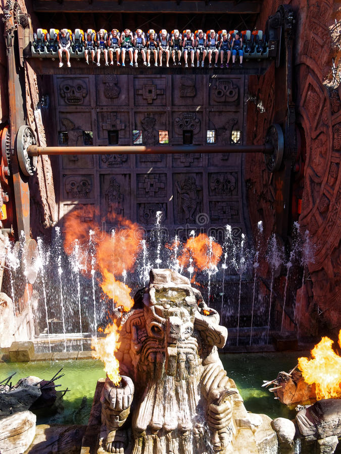 Talocan fire and water top spin ride royalty free stock images