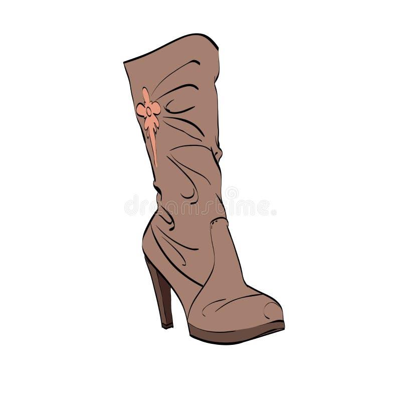 Talon haut des bottes des femmes en cuir illustration libre de droits