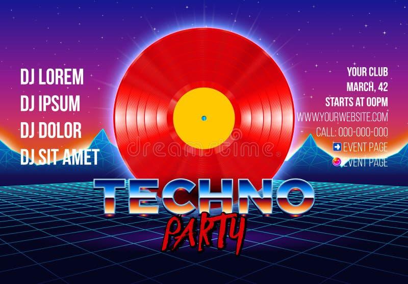 80-talpartiaffisch med galleri utformad bakgrund och röd vinyl lp för retro översvallande beröm för techno royaltyfri illustrationer