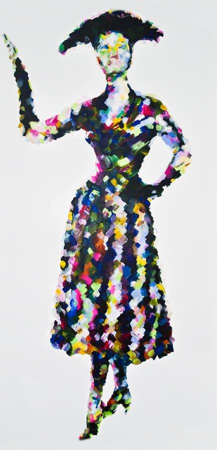 50-talperfektion, modern akrylmålning som inspireras av 50-talmode stock illustrationer