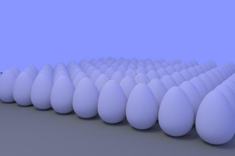 Talrijke witte eieren in lichtjes blauwachtig omringend licht royalty-vrije illustratie