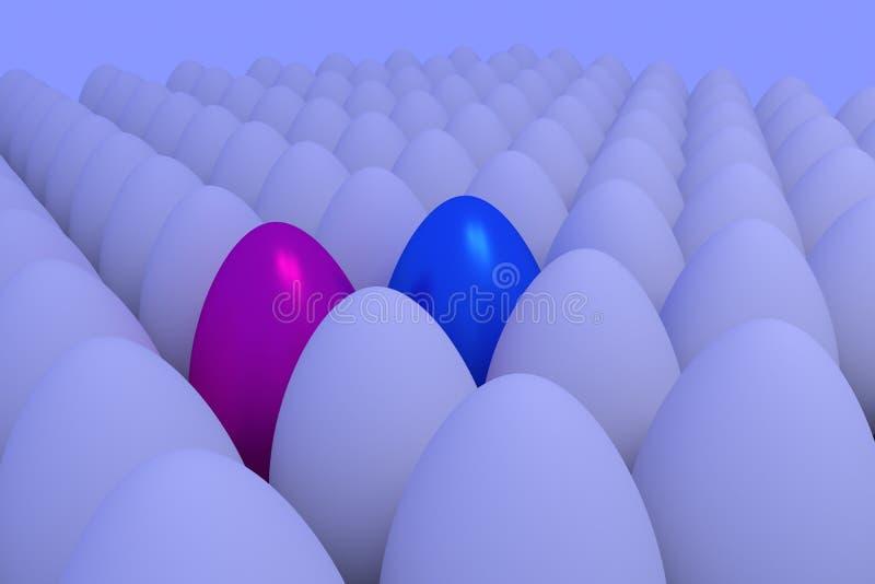 Talrijke witte eieren in lichtjes blauwachtig omringend licht vector illustratie