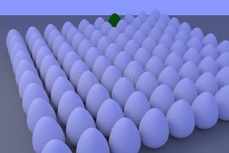 Talrijke witte eieren in lichtjes blauwachtig omringend licht stock illustratie