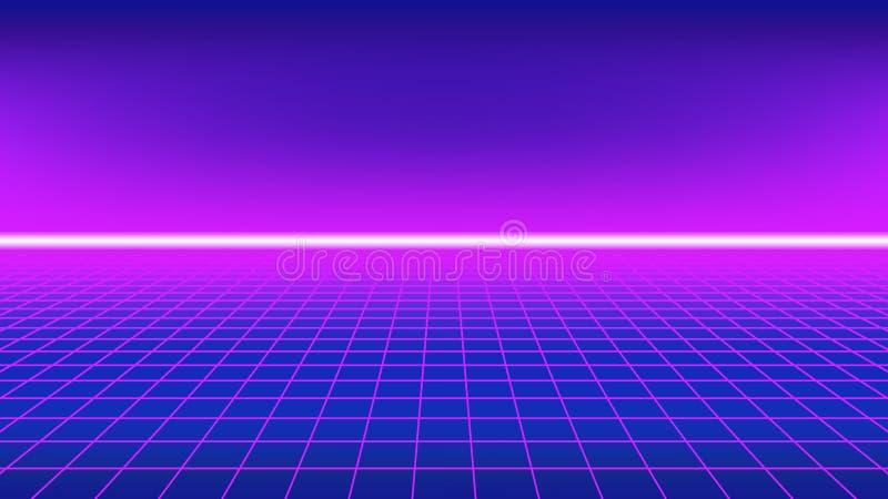 80-talstilbakgrund Perspektivraster med neonhorisontlinjen vektor illustrationer