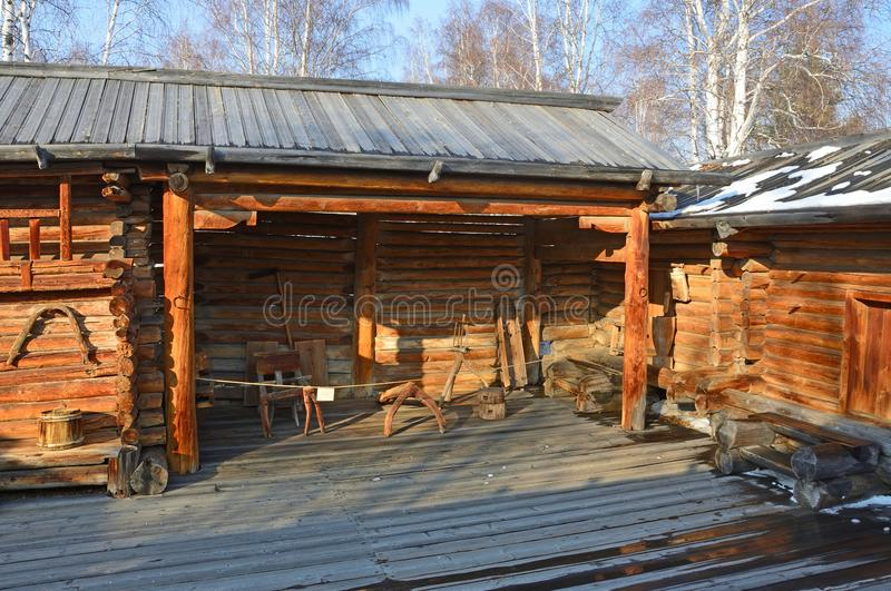 Taltsy, Irkutsk region, Russia, March, 02, 2017. Architectural ethnographic museum Taltsy. Internal courtyard of the farm of Nepom. Taltsy, Irkutsk region royalty free stock photos