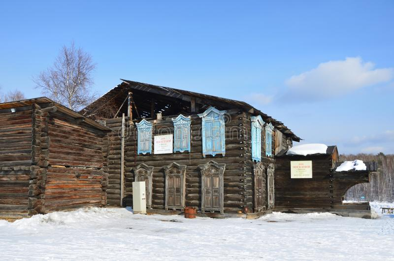 Taltsy, Irkutsk region, Russia, March, 02, 2017. The house of Mogileva, 1886 the year of construction. Irkutsk architectural-ethno royalty free stock photo