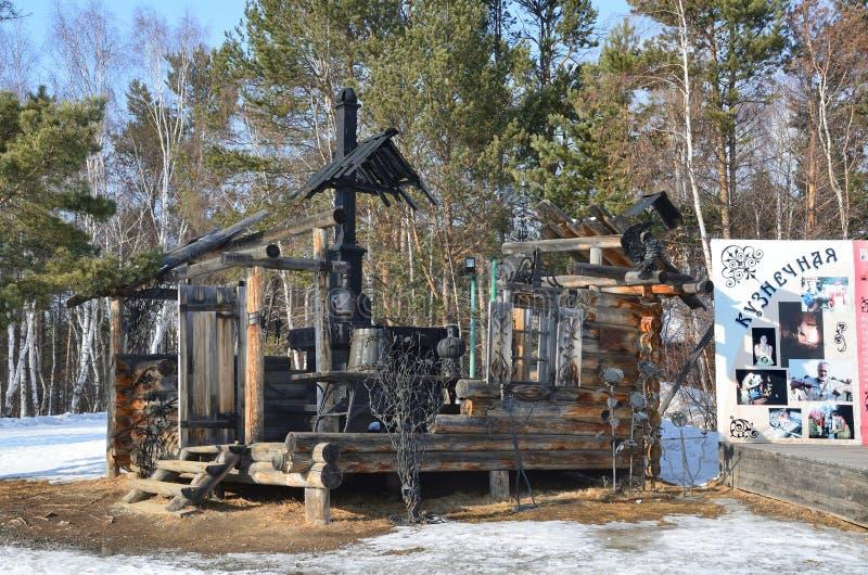 Taltsy, Irkutsk region, Russia, March, 02, 2017.Hut in the slit at Blacksmith square in winter in the Irkutsk architectural-ethnog stock photos