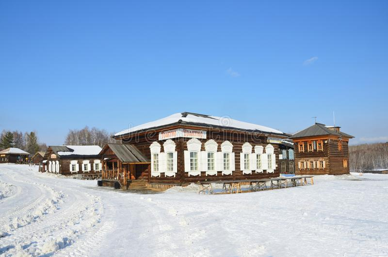 Taltsy, Irkutsk region, Russia, March, 02, 2017. Tavern in old russian house in the winter, Irkutsk architectural-ethnographic Mus royalty free stock photo