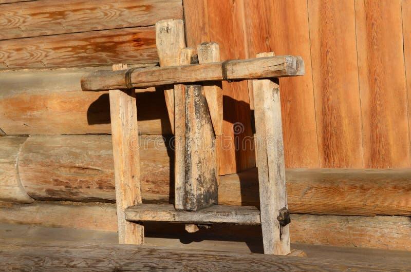 Taltsy Irkutsk region, Ryssland, mars, 02, 2017 Arkitektoniskt ethnographic museum Taltsy Objekt av det lantliga livet av det sen royaltyfri foto