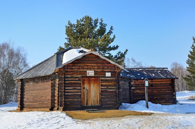 Taltsy Irkutsk region, Ryssland, mars, 02, 2017 Buryat träYurt i Taltsy för Irkutsk denethnographic museum` `en, th arkivfoto
