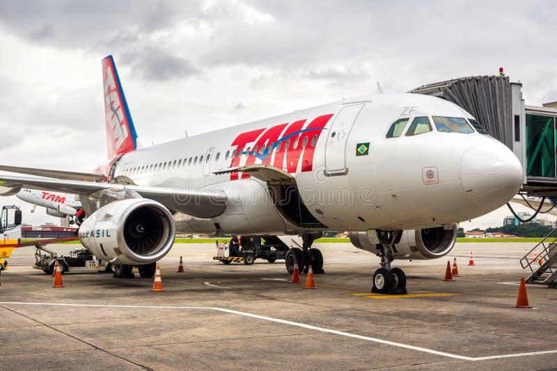 TAM Airlines Airplane på den Guarulhos flygplatsen i Sao Paulo, Brasilien royaltyfri fotografi